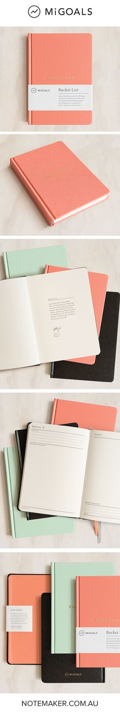 Write down, dream about and check off the Top 100 things you simply must do before you well, kick the bucket in the MiGoals Bucket List notebooks!