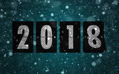 Download wallpapers New Year, 2018 concepts, green background, Happy New Year