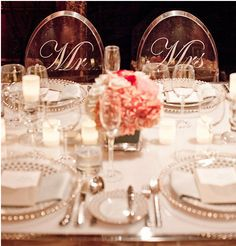 """Sweethearts Table Wedding Decoration Ideas  """"Mr. & Mrs."""" Ghost Wedding chairs"""