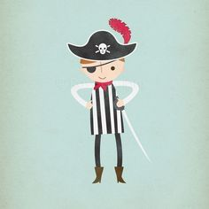 Little Pirate Boy - Customizable 8 x 10 Archival Art Print