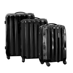 3 Pcs Hard Shell Travel Luggage w/ TSA Lock Black