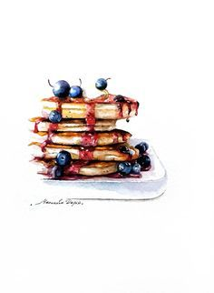 Briosches, crepes, pancakes and waffles illustrations on Pinterest ...