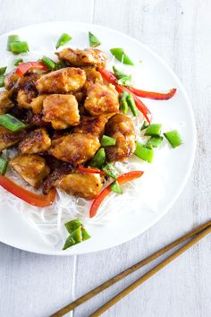 Spicy Honey Chicken with Rice Noodles