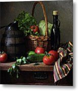 Still Life With Vegetables And French Wooden Jug Metal Print by Helen Tatylyan
