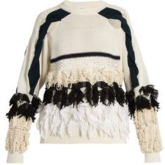 Toga Fringed cotton-blend sweater (2.005 DKK) ❤ liked on Polyvore featuring tops, sweaters, jumper, white black, black and white top, black and white sweater, black and white jumper, cutout sweaters and cut out jumper