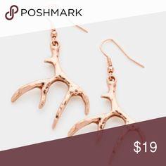"""Light Copper Antler Earrings • Color : Copper  • Size : 1.25"""" W, 2.25"""" L  • Fish Hook Back A Mermaid's Epiphany Jewelry Earrings"""
