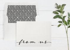 From Us Boxed Notecards - Shimmer Cardstock - Color and Envelope Liner Options - 6 Cards & Lined Envelopes Per Box - A2 Size