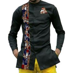 YUNY Men African Style Stand Collar Long Sleeve Patchwork Tops Shirts 1 XL
