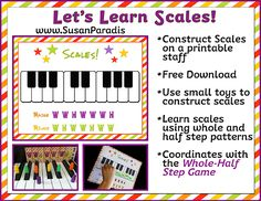 Printable Keyboard(for Scales F-B) C Scale Keyboard (New) Last year I posted a game, the Whole Half Step Game, that I developed to construct scales on the piano keyboard. Recently, I made a...
