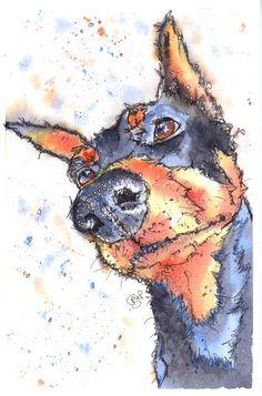 Josie P Print of Original Watercolour Doberman
