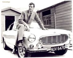 "Roger Moore on a Volvo P1800 from the TV series ""The Saint"" - Early '60's"