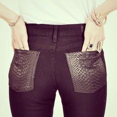 snake pockets. hi waist skinnies, $144 at bonadrag.