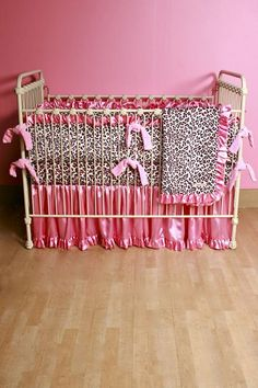 Another white background leopard print bedding for a girls nursery , oh so pretty