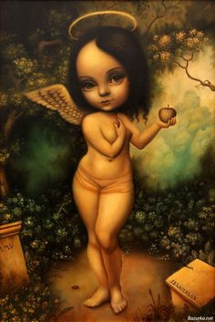 "whatjanesaw: ""Mark Rhyden "" John Waterson is the artist of this painting named Angel with an Apple. His name is in the lower right corner of this painting. Also, its Mark Ryden. Mark Ryden, Illustrations, Illustration Art, No Ordinary Girl, Art Beat, Lowbrow Art, Surreal Art, Dark Art, Pop Art"