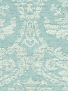 """""""Gwyneth"""" textured Damask Wallpaper from the book Stroheim's Color Gallery Aqua from AmericanBlinds.com #wallcovering"""