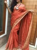 Rust pure linen saree