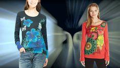 #Desigual Shirt - Modelle Malvina und Cristina, Muster: floral, ethnisch, exotisch und Mandala, blau, orange.