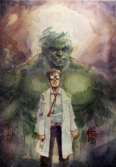 #Hulk #Fan #Art. (Banner's Shadow - Incredible Hulk - Watercolor) By: Dreamflux1. ÅWESOMENESS!!!™ ÅÅÅ+ 4