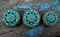 Dot Painted Mandala Stone-green turquoise by StripeyCatsStudio