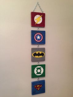 Distressed Superhero Wall Art Hanging from chain-Flash Superman Batman Captain America Green Lantern Symbols made from Pallet Wood Reclaimed...