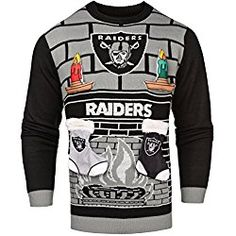 nfl oakland raiders ugly 3d sweater large