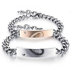 Blowin Valentines Day Gift Stainless Steel His and Hers Couple... ($14) ❤ liked on Polyvore featuring jewelry, bracelets, stainless steel bangles, heart jewelry, heart bangle, stainless steel jewellery and stainless steel jewelry