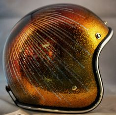 Gold and Rootbeer Starburst One-Of-A-Kind Biltwell custom painted helmet. SOLD   For more pics: http://sqi.sh/g5x