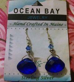 Earrings Blue Glass Dangle Sterling Silver Hook Jewelry Handcrafted in Maine NEW #Handmade #DropDangle