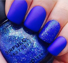 Matte Royal Blue Nails With A Glitter Pop But No