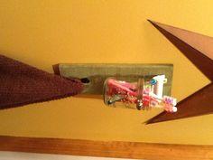 Rustic DIY toothbrush/towel holder