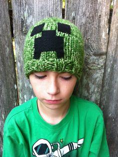 Hand Knit Minecraft Creeper Inspired Green Beanie Hat Child