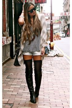 OTK boots with denim shorts... too bad I can't wear this to work! So cute! Great look for fall.