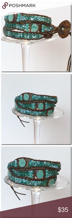 """🎀NEW🎀 Handmade 3 Wrap Bracelet Handmade Wrap Bracelet- This beautiful bracelet showcases Azul retro mix Czech Glass 6/0 seed beads , accent Beads in turquoise and copper .They are stitched securely to 1.5mm natural brown leather with 2 strands of brown thread . The bracelet will wrap 3 times around a wrist and has 2 button loop closures which offer ample size adjustability. It measures 22 """"to the first button loop closure; 23"""" to the second; A small handmade copper button finishes off the…"""