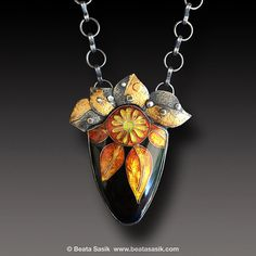 Cloisonné Enamel Sunflower Pendant Sterling Silver Necklace with Keum Boo Gold $895.00