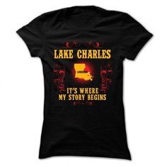 Lake Charles Its where story begin T Shirts, Hoodies. Check price ==► https://www.sunfrog.com/Names/Lake-Charles--Its-where-story-begin-Black-Ladies.html?41382 $22.95