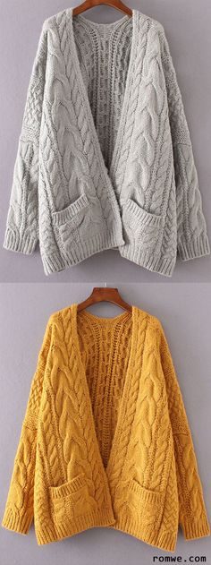 Drop Shoulder Cable Knit Cardigan With Pockets
