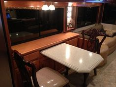 Fifth Wheel Living, Cherry Desk, Rv Show, Rv Redo, Booth Seating, Adjustable Table, On The Road Again, Hanging Files, Under The Table
