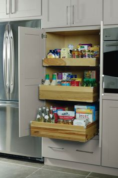 Keep the cereal boxes upright and in place with Deep Roll Trays in our Pantry Top Unit.