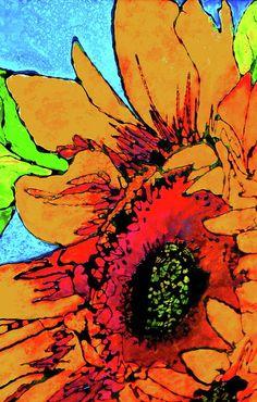 Vertical Sunflower Painting  - Vertical Sunflower Fine Art Print
