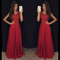 Red Cheap Formal A Line Modest Floor Length Chiffon Prom Dress, WG287 The long prom dress is fully lined, 4 bones in the bodice, chest pad in the bust, lace up back or zipper back are all available. T