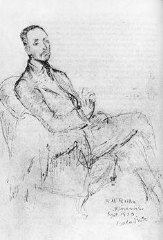 Portret Rilkego naszkicowany przez Baladynę Klossowską w roku 1920