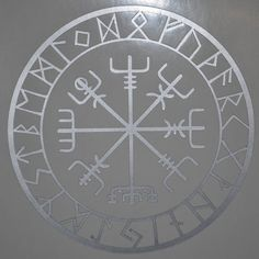 "This rune is known as vegvisir, Icelandic for ""guidepost"" and sometimes referred to as the Viking Compass. The purpose of this magical charm is to help guide one's way without getting lost. This is surrounded by all 24 characters of the Elder Futhark."