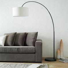 "Overarching Floor Lamp - Bronze, with linen shade, $299 (19"" wide x 61"" deep x 77"" high)"
