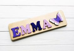 Personalized Puzzles, Personalized Baby Gifts, Jigsaw Puzzles For Kids, Wooden Puzzles, Birthday Gifts For Girls, Baby Girl Gifts, Diy For Kids, Gifts For Kids, Purple Nursery Decor