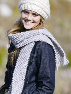 Chunky Hat & Moss Stitch Scarf from #112 - Mega by Ella Rae  at KnittingFever.com. Big scarf!