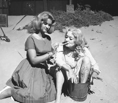 Bette Davis and daughter BD on location at Malibu Beach