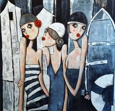 by Virginie Matz Figurative Kunst, Art Populaire, Arte Sketchbook, Naive Art, Art Design, Oeuvre D'art, Painting Inspiration, Female Art, Art Girl