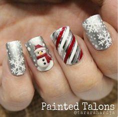 Snowman nail desing