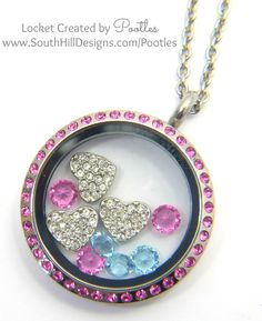 South Hill & Stampin Up on Sunday Pink & Blue Hearts Close Up
