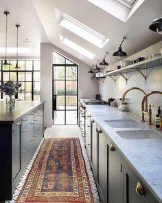 Bespoke Kitchens, Luxury Kitchens, Cool Kitchens, New Kitchen, Vintage Kitchen, Kitchen Decor, Kitchen Sink, Kitchen Ideas, Kitchen Lamps